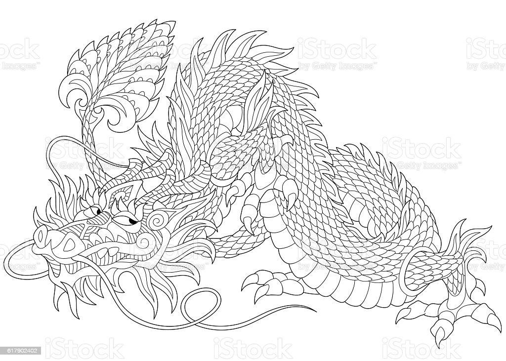 Stylized dragon animal vector art illustration