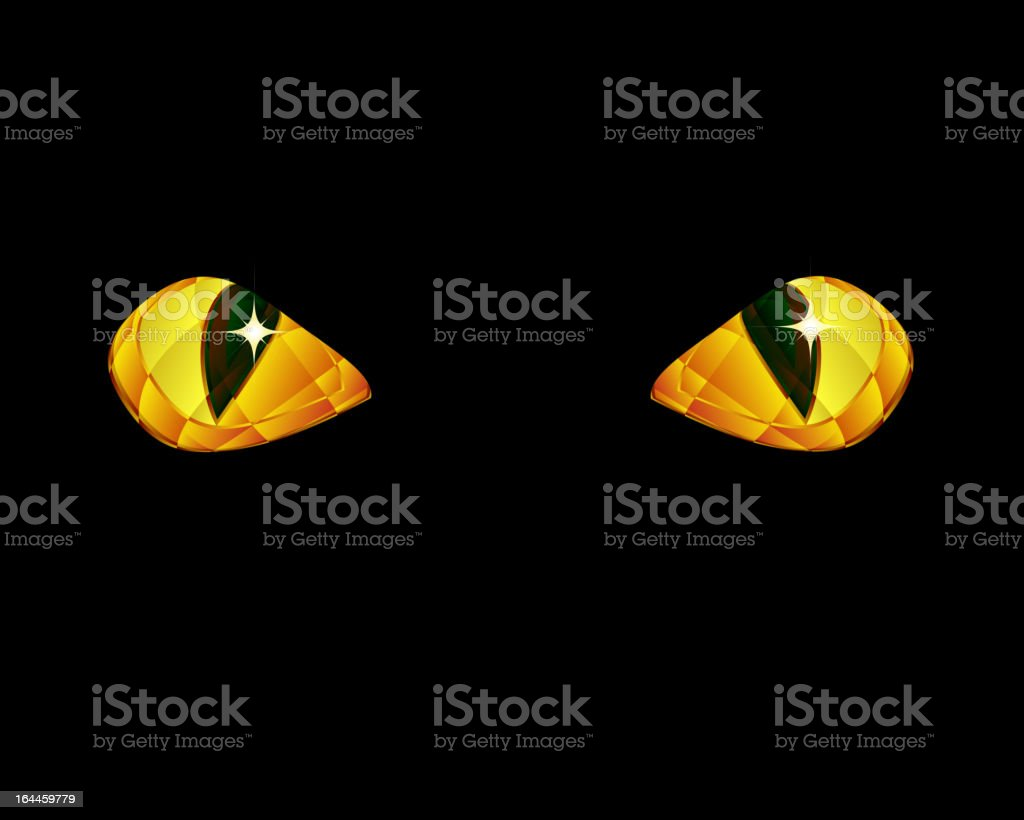Stylized drawing of faceted golden cat eyes against black vector art illustration