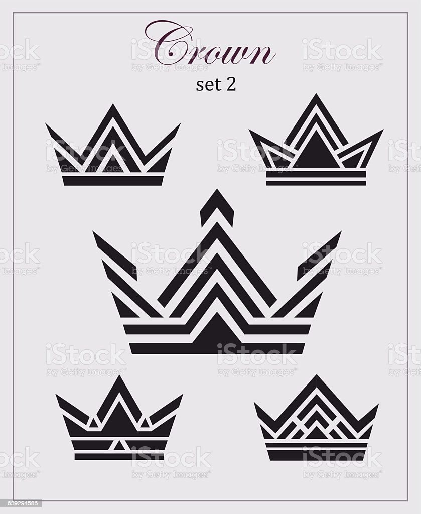 Stylized drawings of crowns, a set  icons on  light backgroun vector art illustration