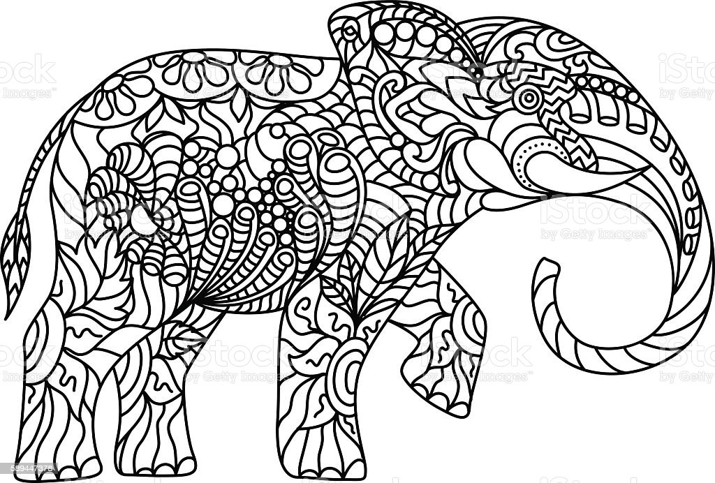 Stylized Elephant Coloring Antistress Stock Vector Art
