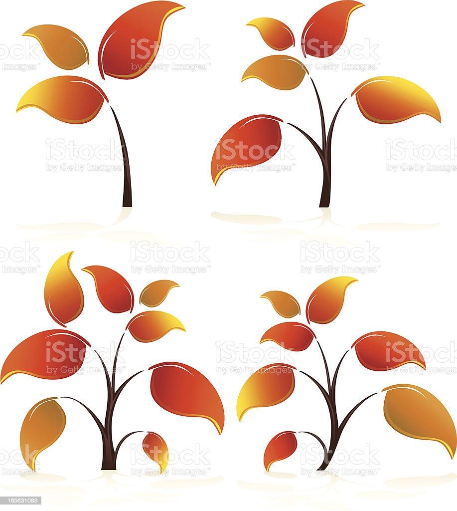 Stilisierte Herbst, Herbst Blätter und Bäumen mit Lizenzfreies vektor illustration