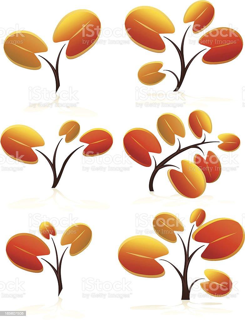 Stilisierte Herbst, Herbst Blätter Set mit abgerundeten Lizenzfreies vektor illustration
