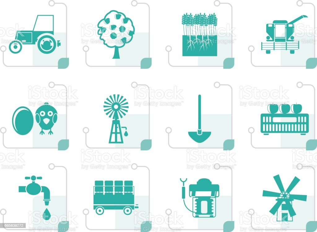 Stylized farming industry and farming tools icons vector art illustration