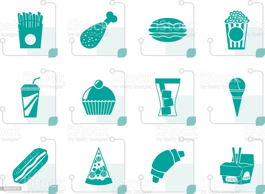 Stylized fast food and drink icons - vector icon set