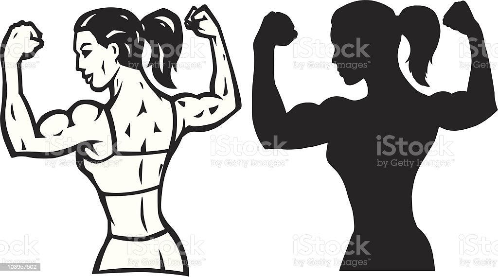 Stylized Female flexer and outline vector art illustration