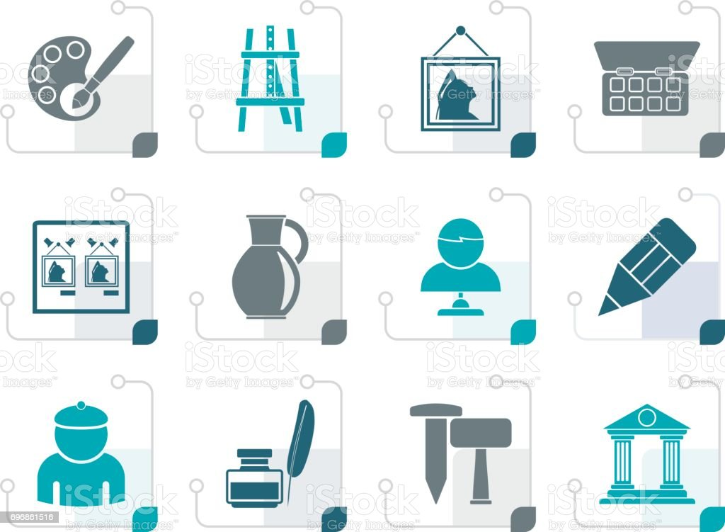 Stylized Fine art objects icons vector art illustration