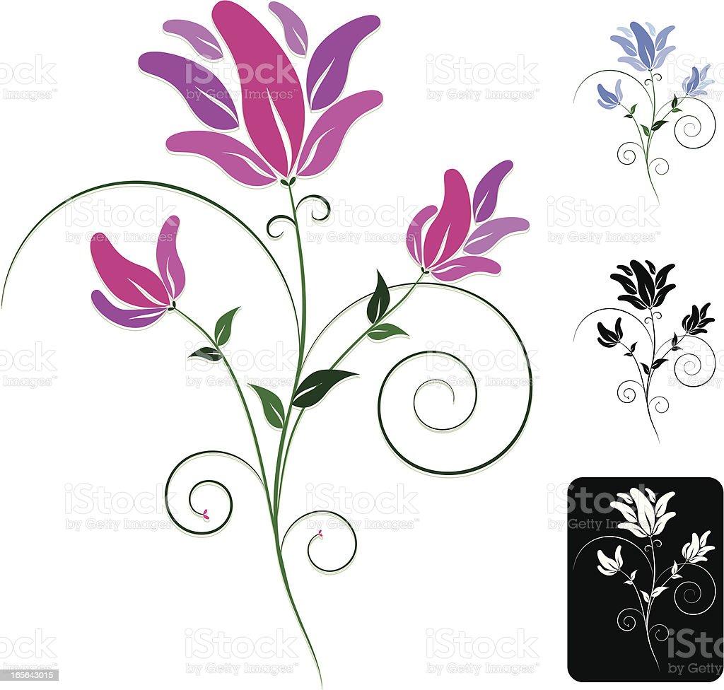 Stilisierte Blumen und Blätter und Blumen Design Grenze-Set Lizenzfreies vektor illustration