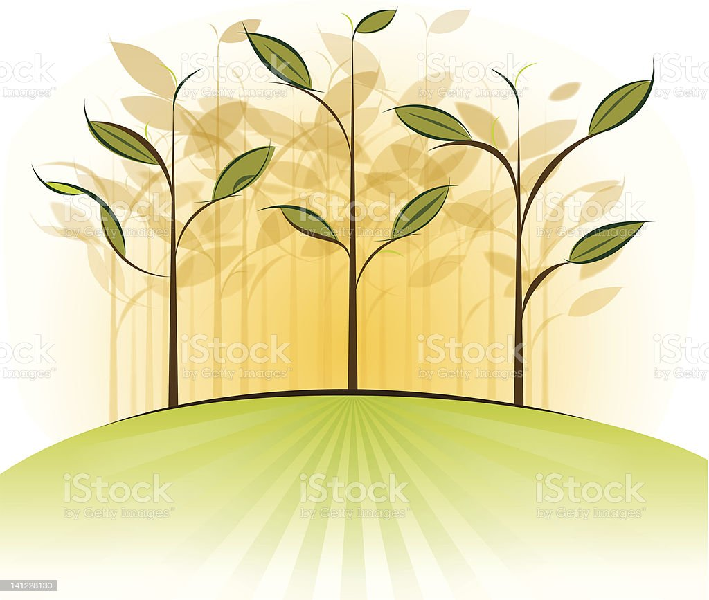 Stylized Forest in Spring vector art illustration