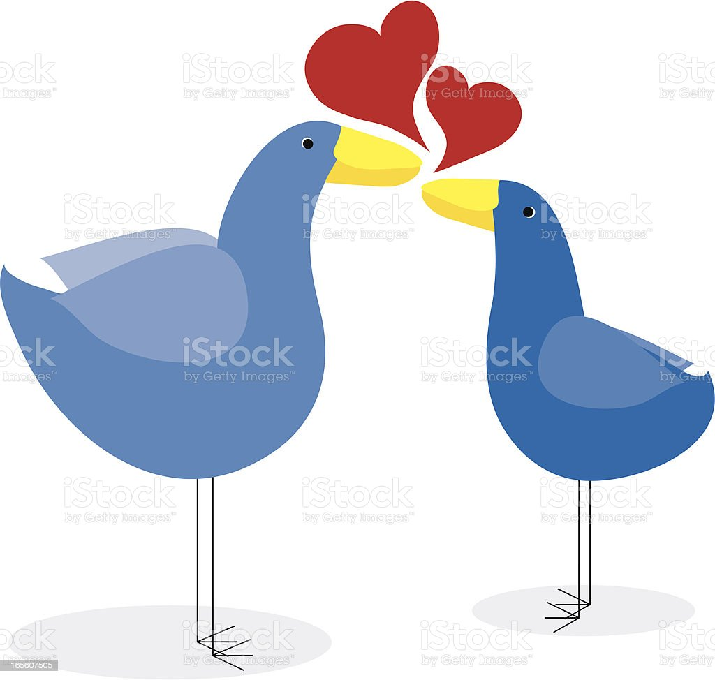 Stylized Friendly Birds in Love royalty-free stock vector art