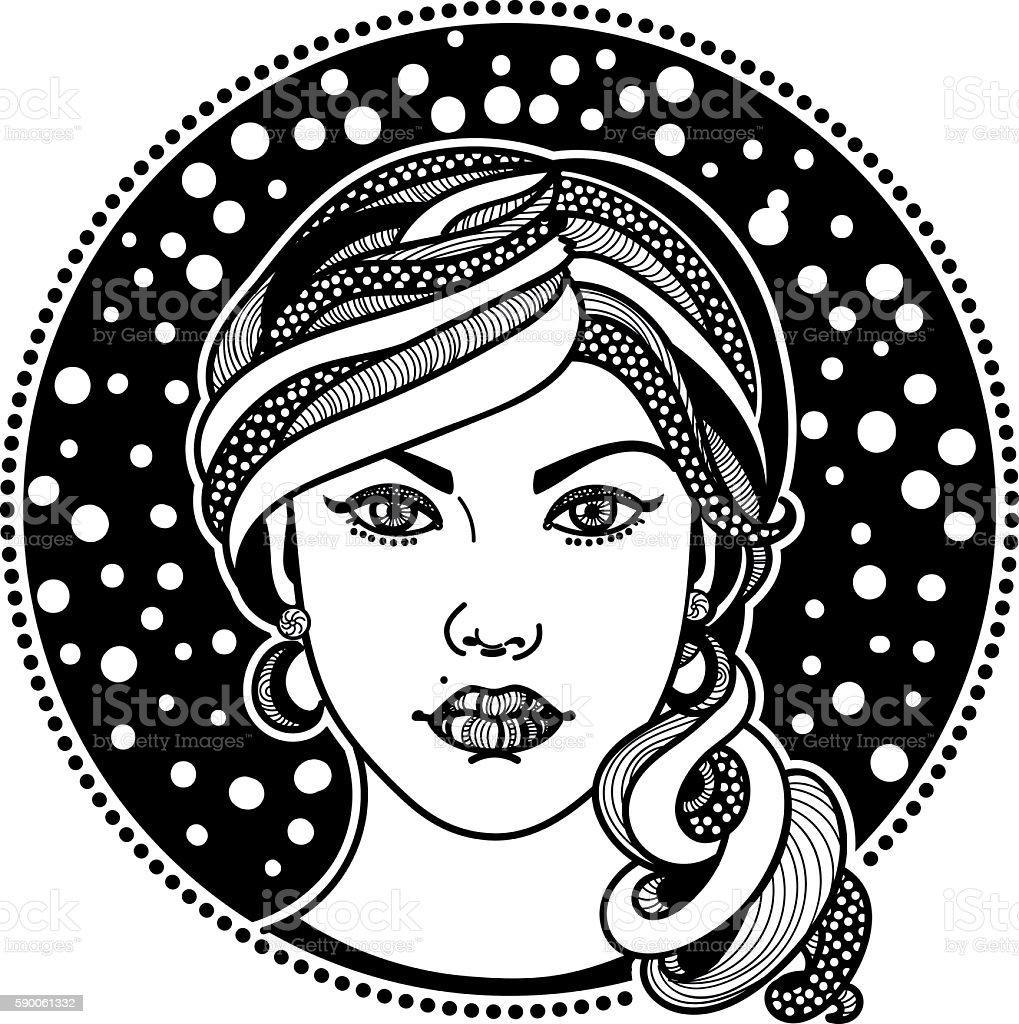 stylized girl vector art illustration