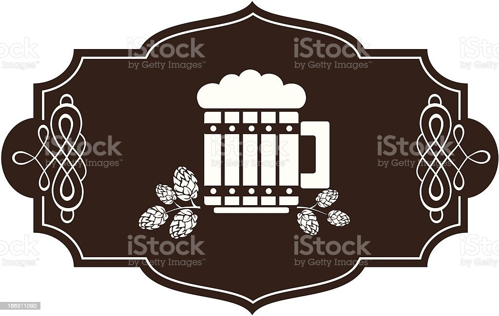 stylized glass of beer with hop branches royalty-free stock vector art