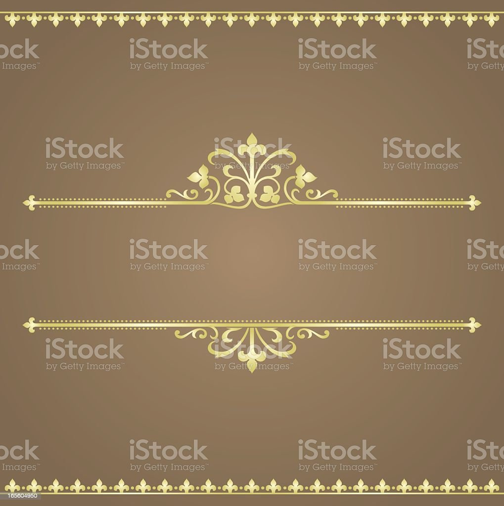 A stylized gold banner on a brown background royalty-free stock vector art