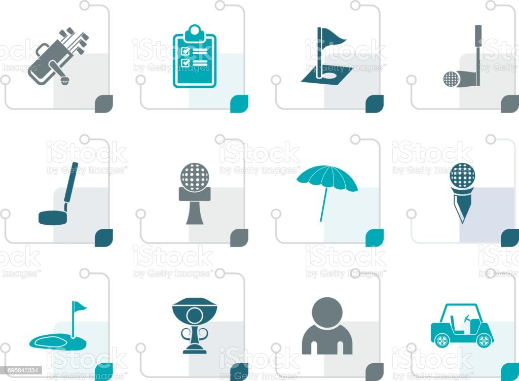 Stylized golf and sport icons vector art illustration
