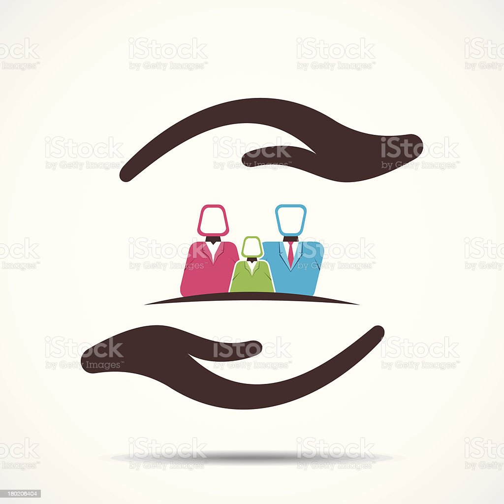 Stylized graphic of two hands holding a small family royalty-free stock vector art
