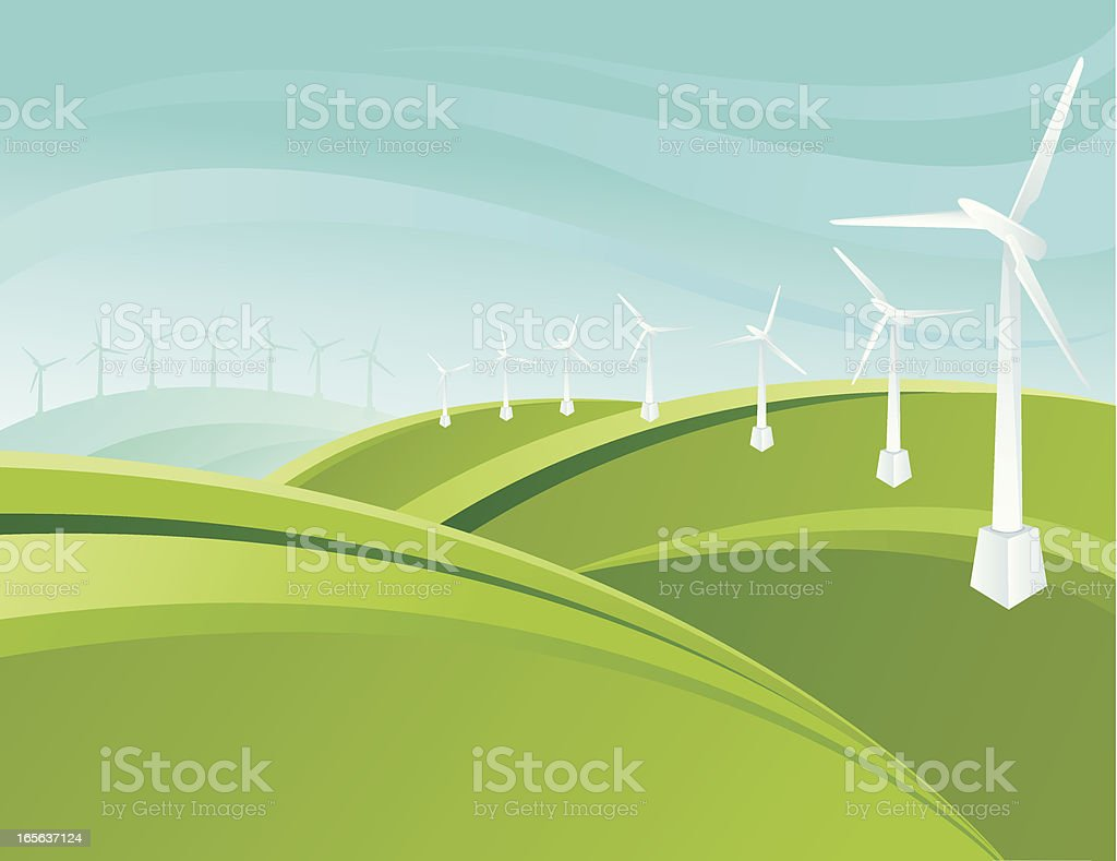 Stylized green landscape royalty-free stock vector art