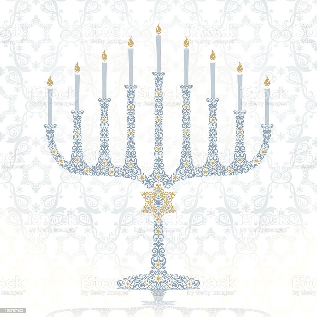 Stylized Hanukkah Menorah vector art illustration