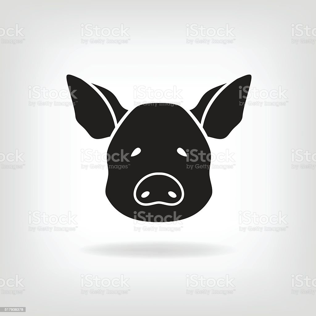 Stylized head of a pig on light background vector art illustration
