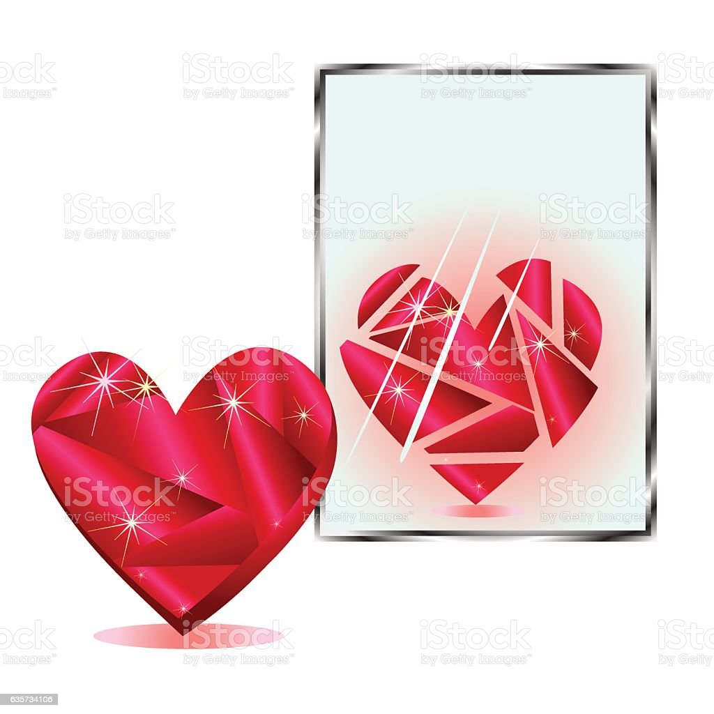 Stylized heart is reflected in the mirror fragments royalty-free stock vector art