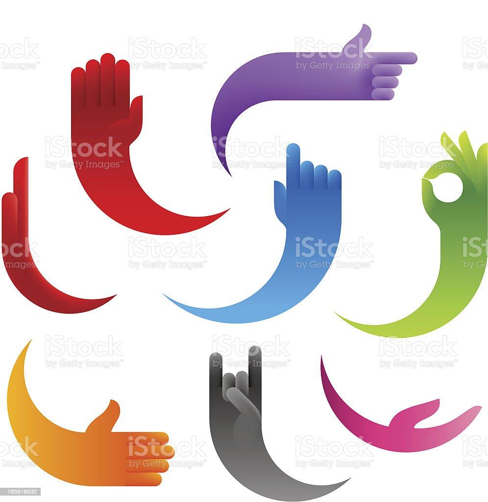 Stylized Human's Hands vector art illustration