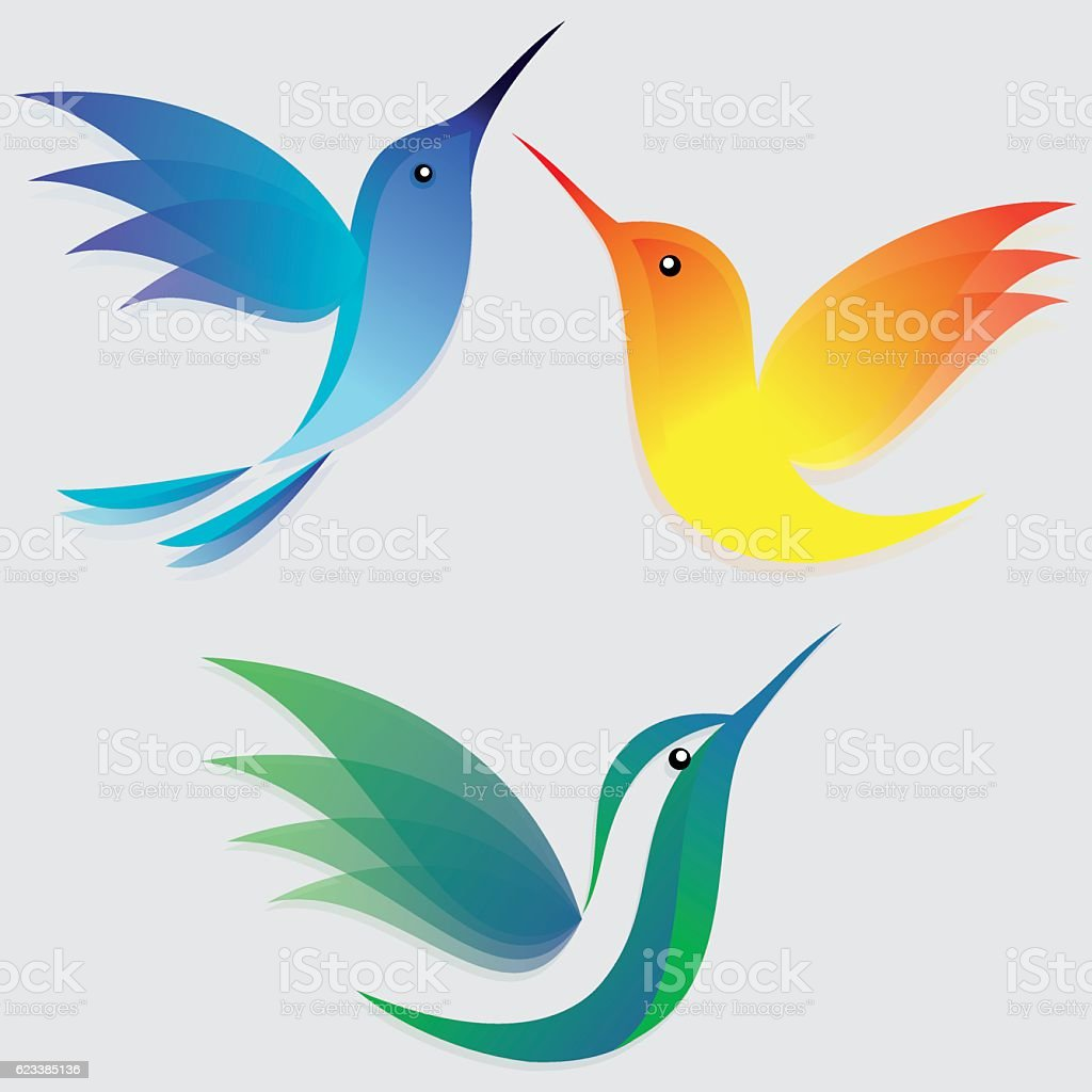 Stylized hummingbirds set vector art illustration
