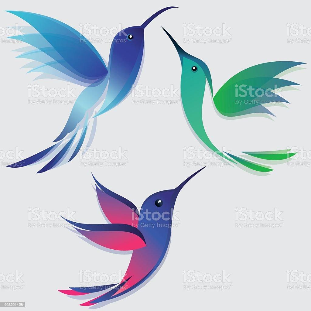 Stylized hummingbirds set vector art illustration
