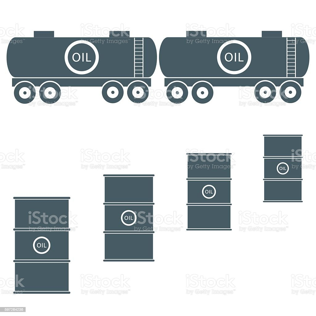 Stylized icon of the tanks and barrels with oil vector art illustration