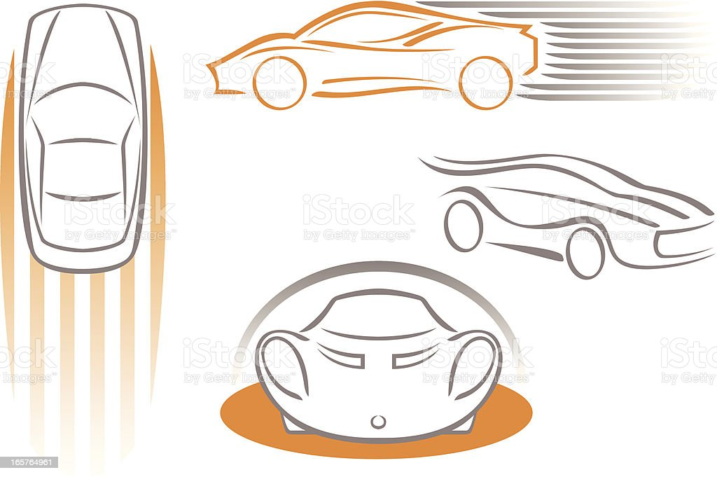 Stylized icons of cars 3 vector art illustration