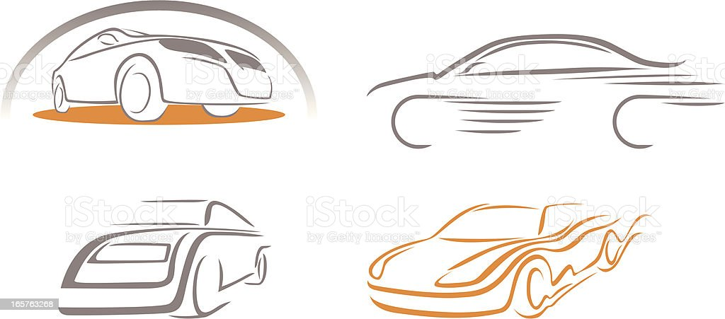 Stylized icons of cars vector art illustration