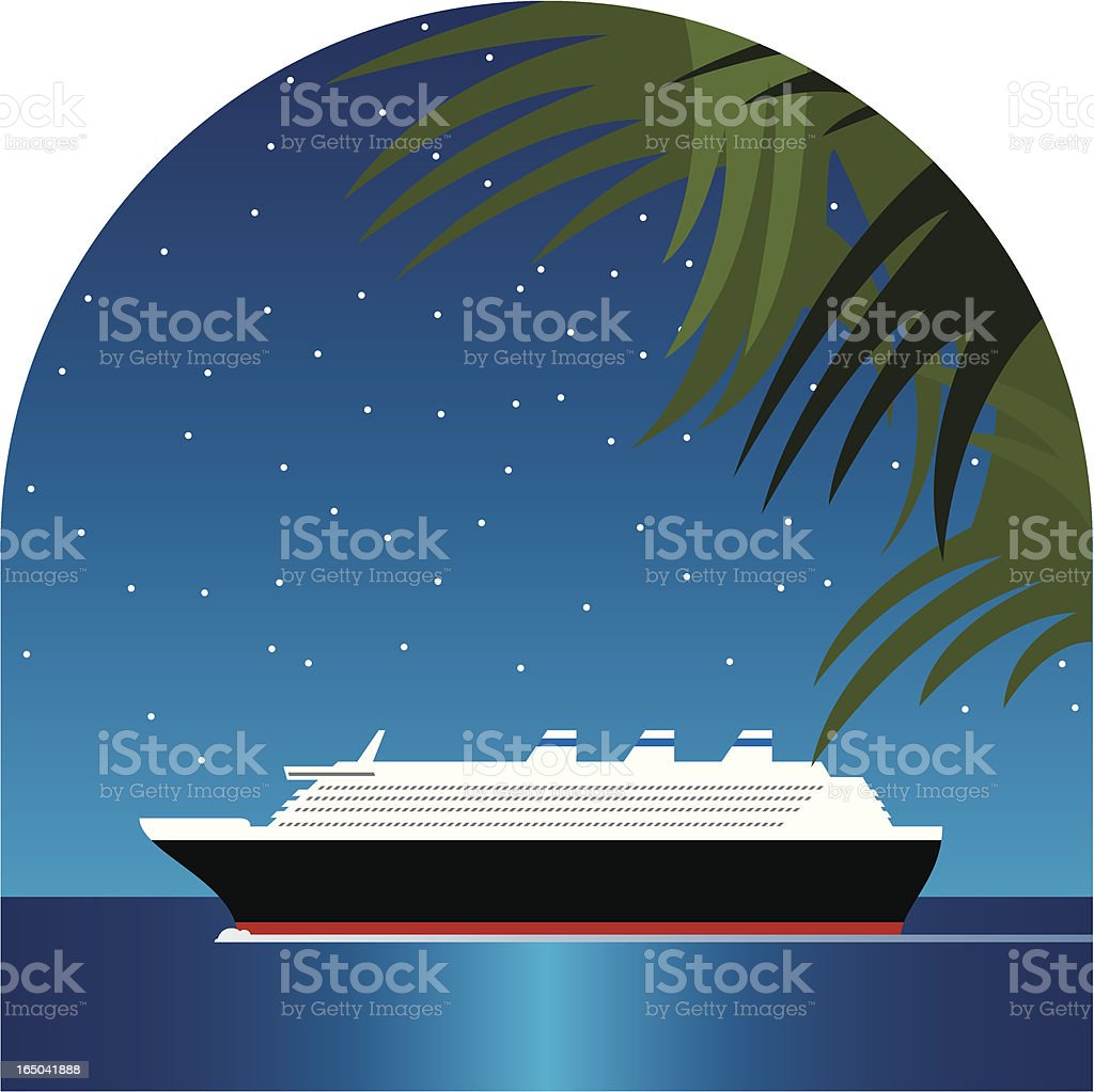Stylized illustration of cruise ship against starry backdrop royalty-free stock vector art