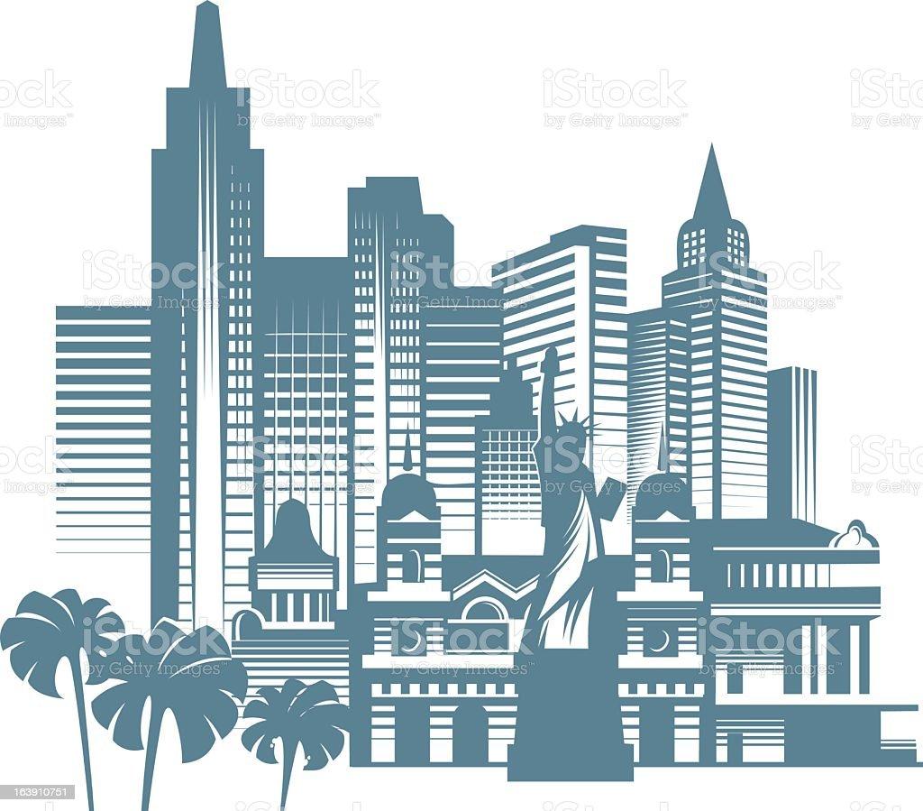Stylized image of Las Vegas city skyline vector art illustration