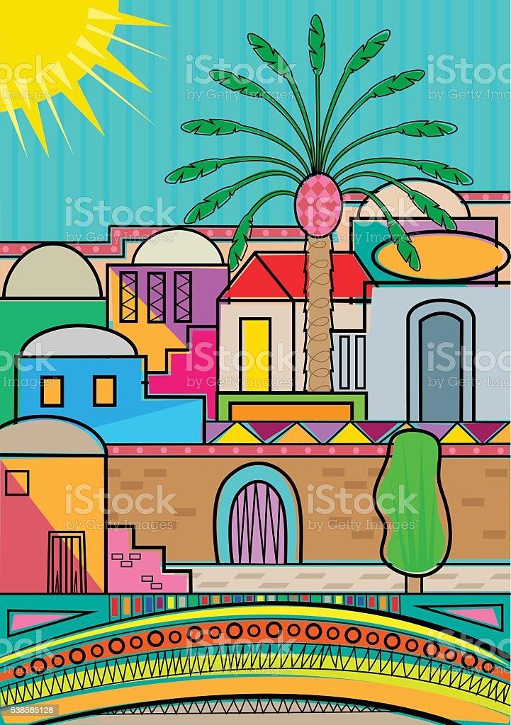 Stylized Jerusalem vector art illustration