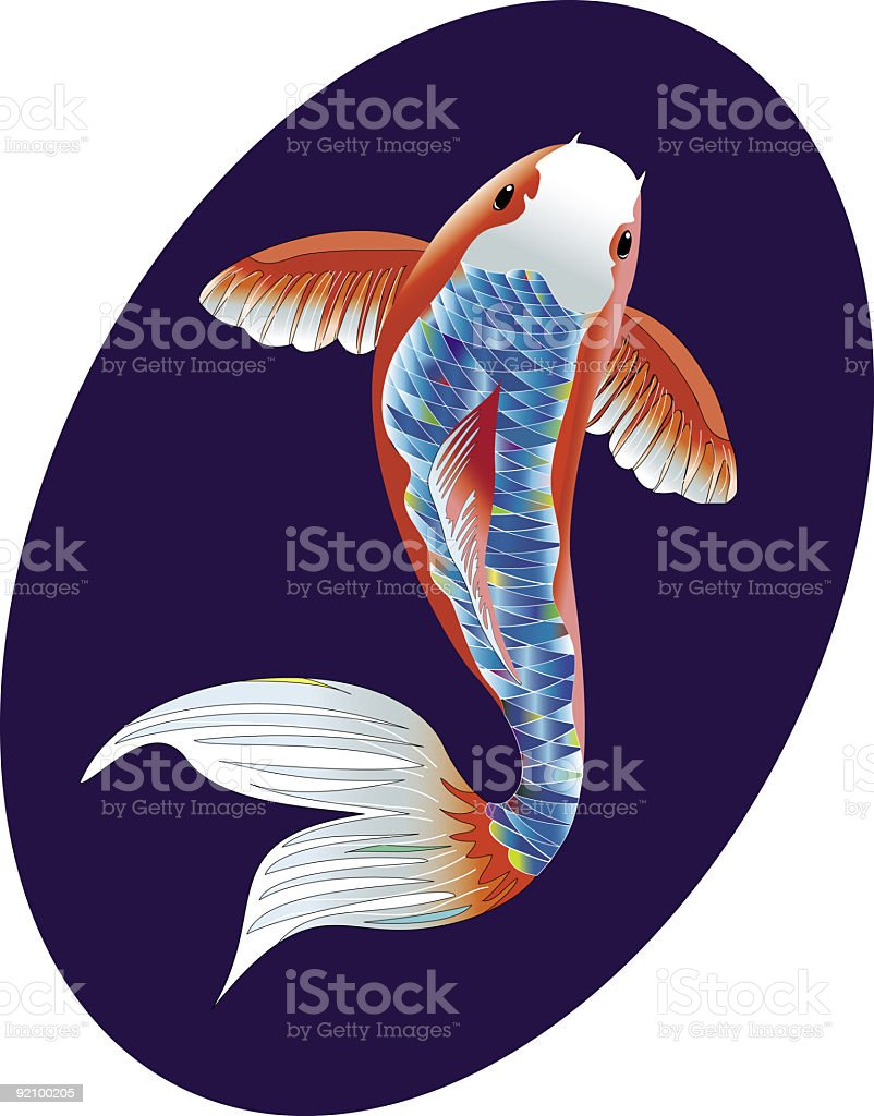 Stylized Koi Fish on a Deep Blue Background royalty-free stock vector art