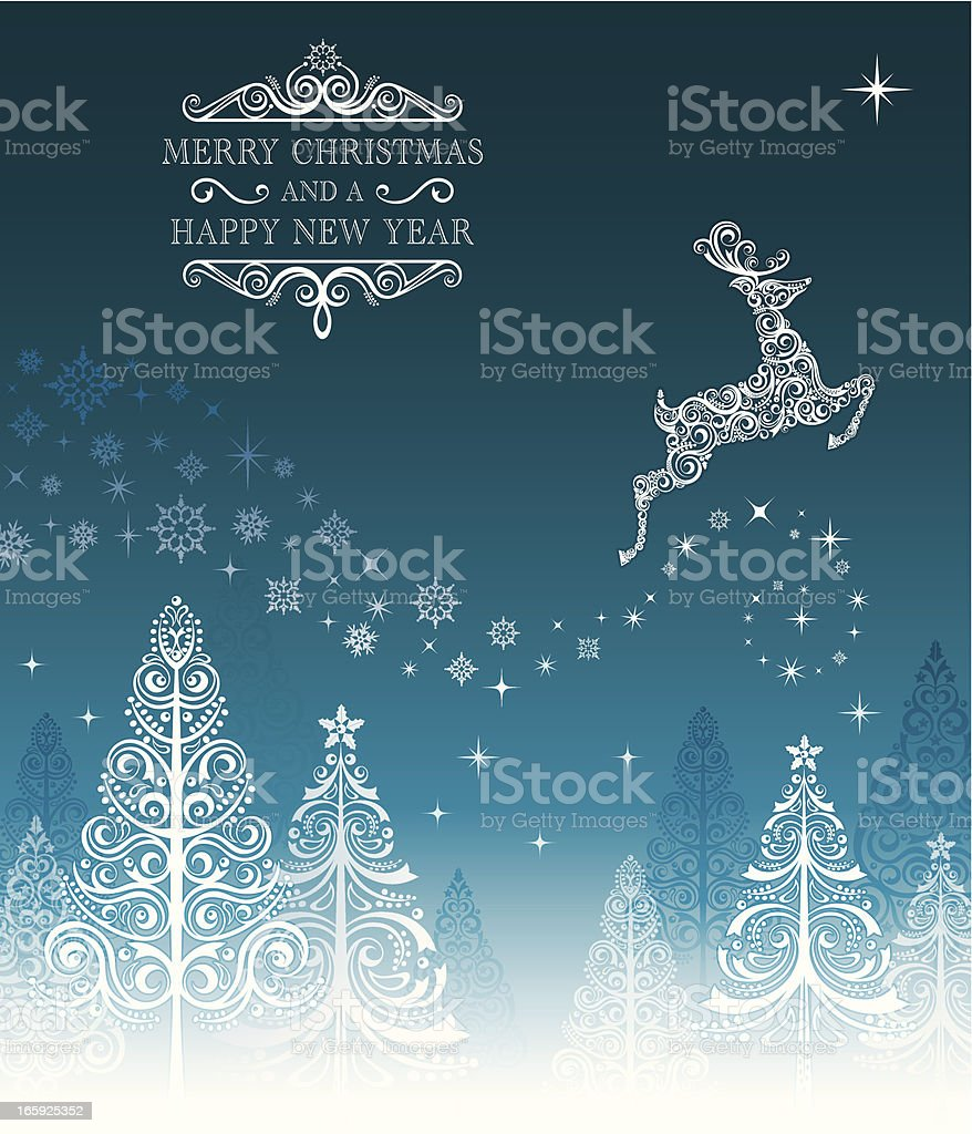 Stylized Lacy Christmas Trees and Reindeer royalty-free stock vector art
