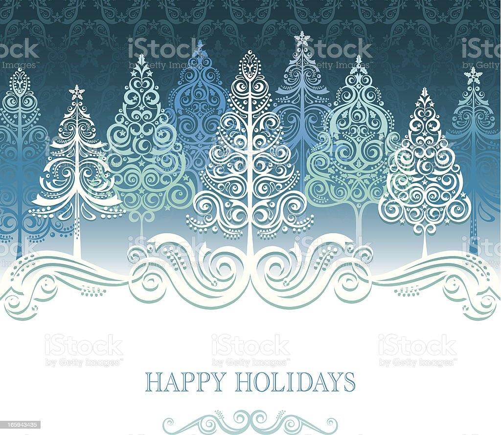 Stylized Lacy Christmas Trees royalty-free stock vector art