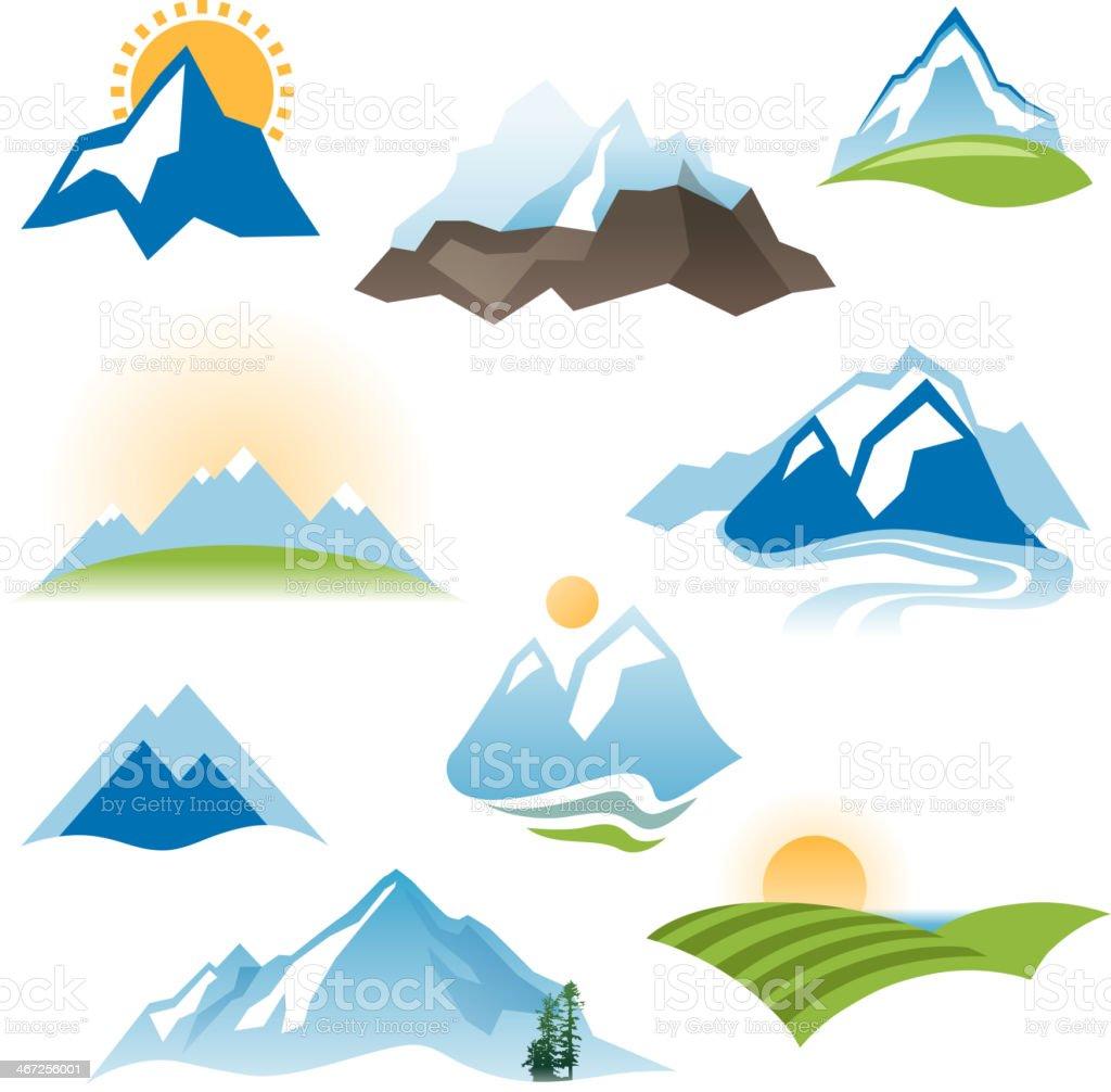 stylized landscape icons vector art illustration