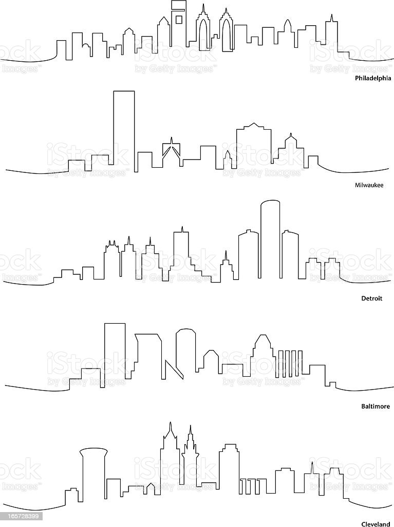Line Drawing North America : Stylized line drawings of american cities stock vector art