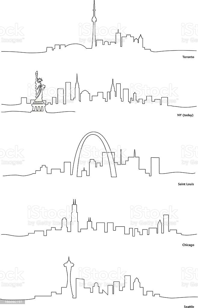 Line Drawing North America : Stylized line drawings of north american cities stock