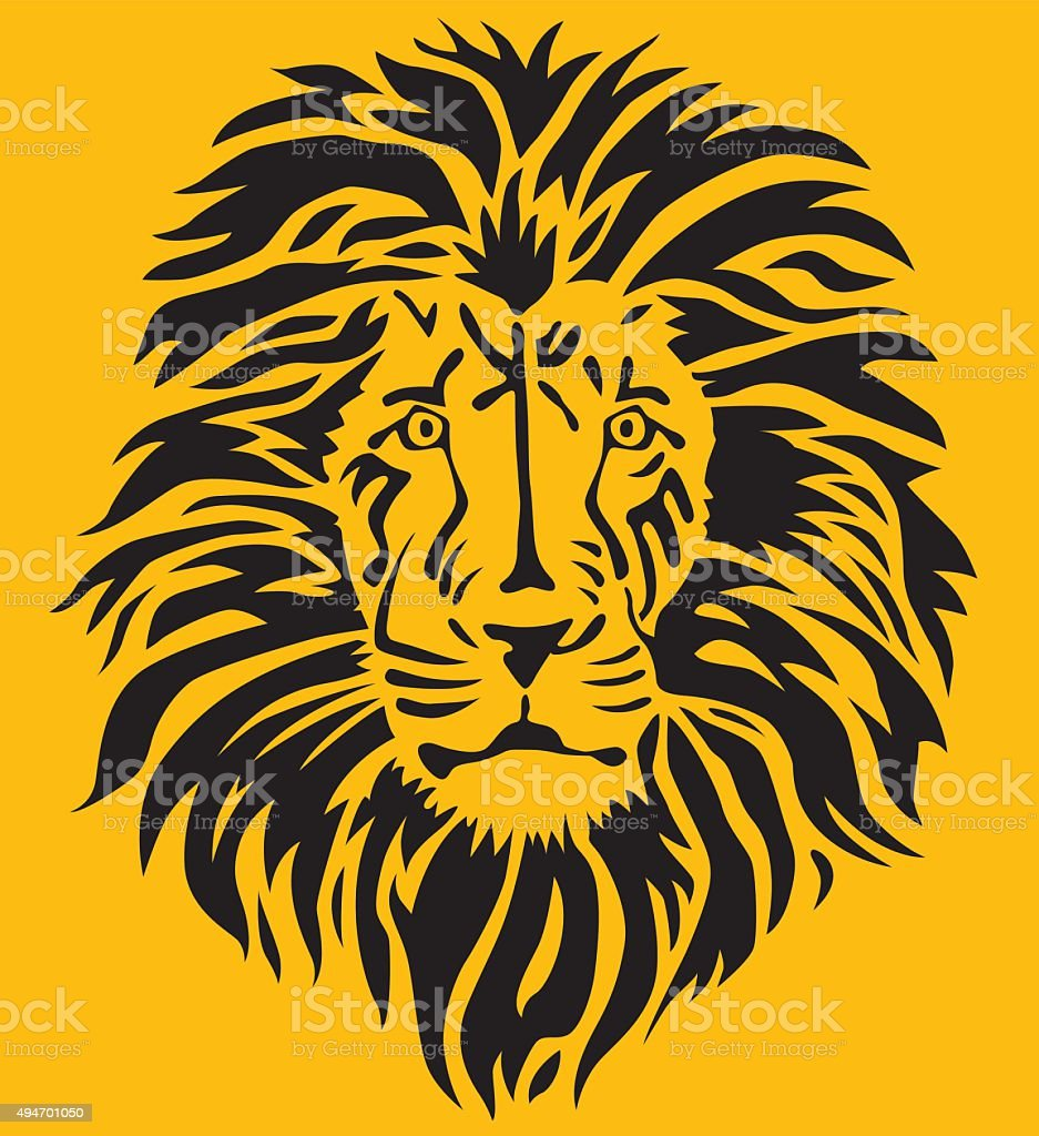Stylized Lion Head vector art illustration