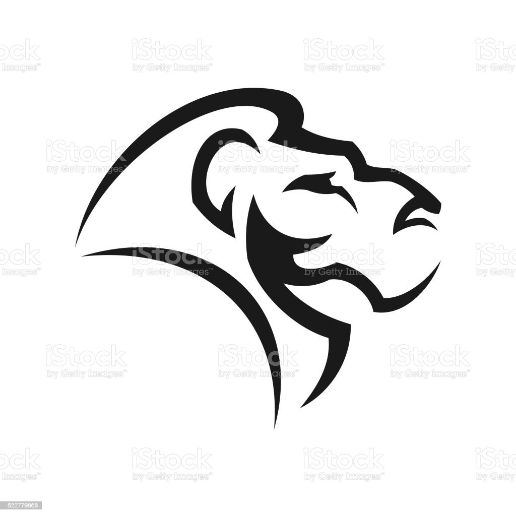 Stylized lions head vector art illustration