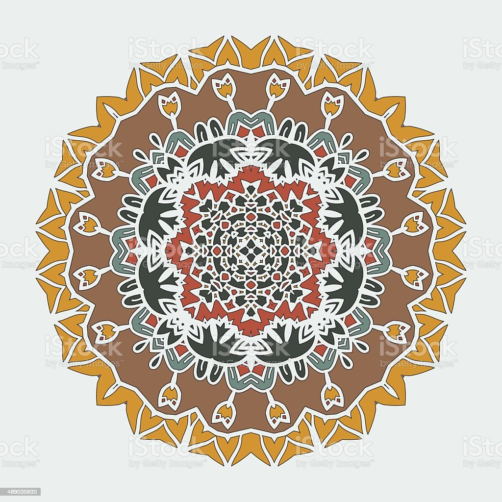 Stylized Mandala Art. Vector ornamental round lace with damask and vector art illustration
