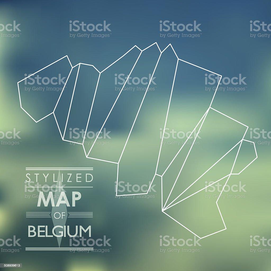 Stylized map of Belgium vector art illustration