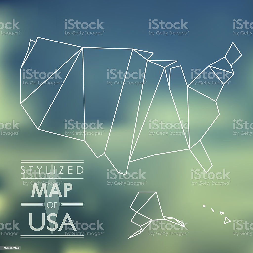 stylized map of USA vector art illustration