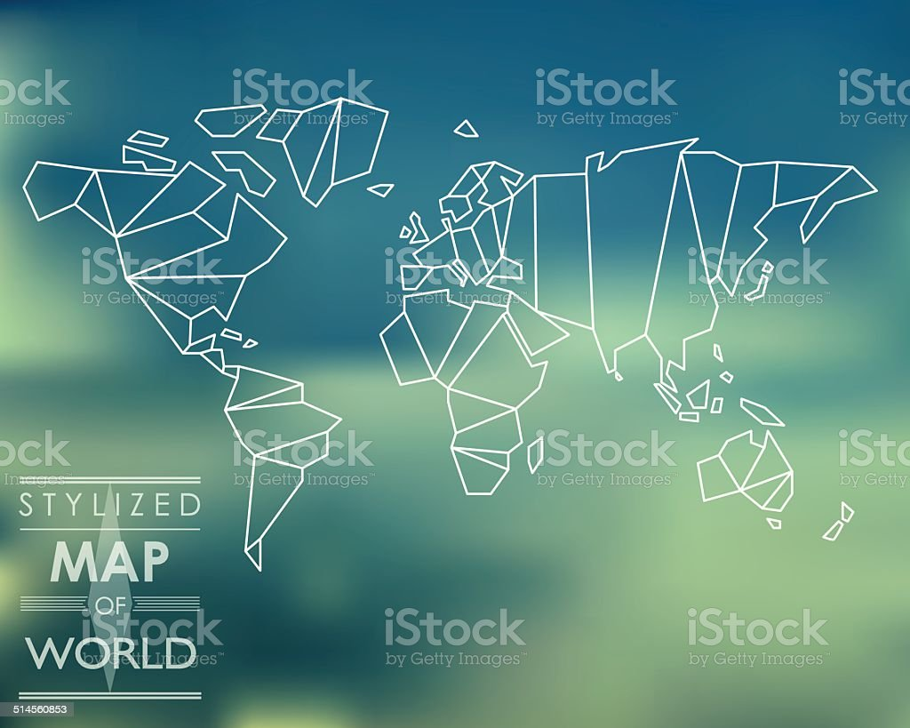 stylized map of world vector art illustration
