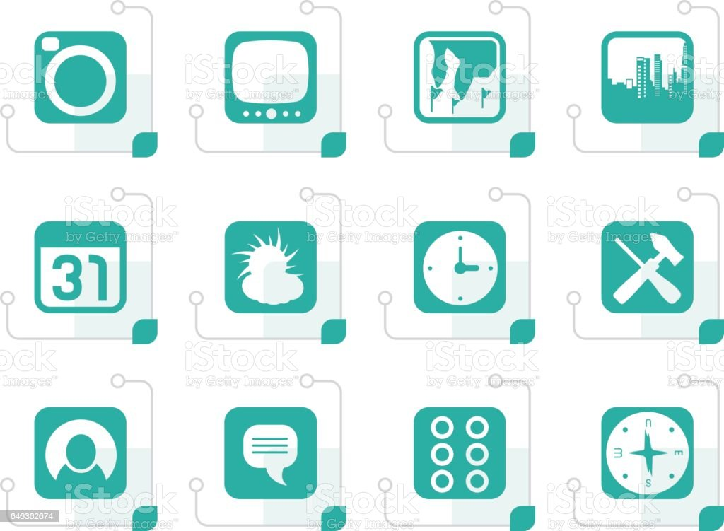 Stylized Mobile Phone and Computer icon vector art illustration