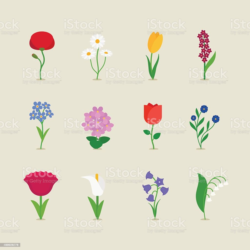Stylized mod flowers vector art illustration