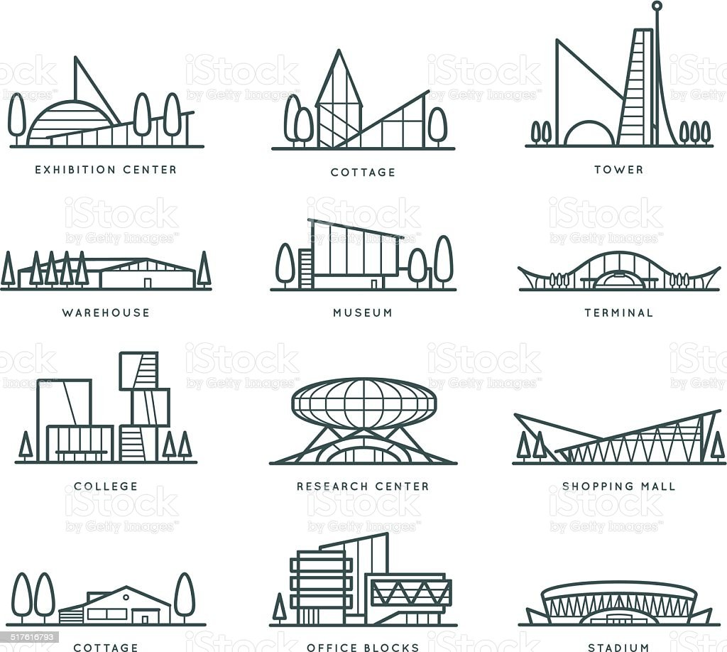 Stylized modern flat schematic city buildings set vector art illustration