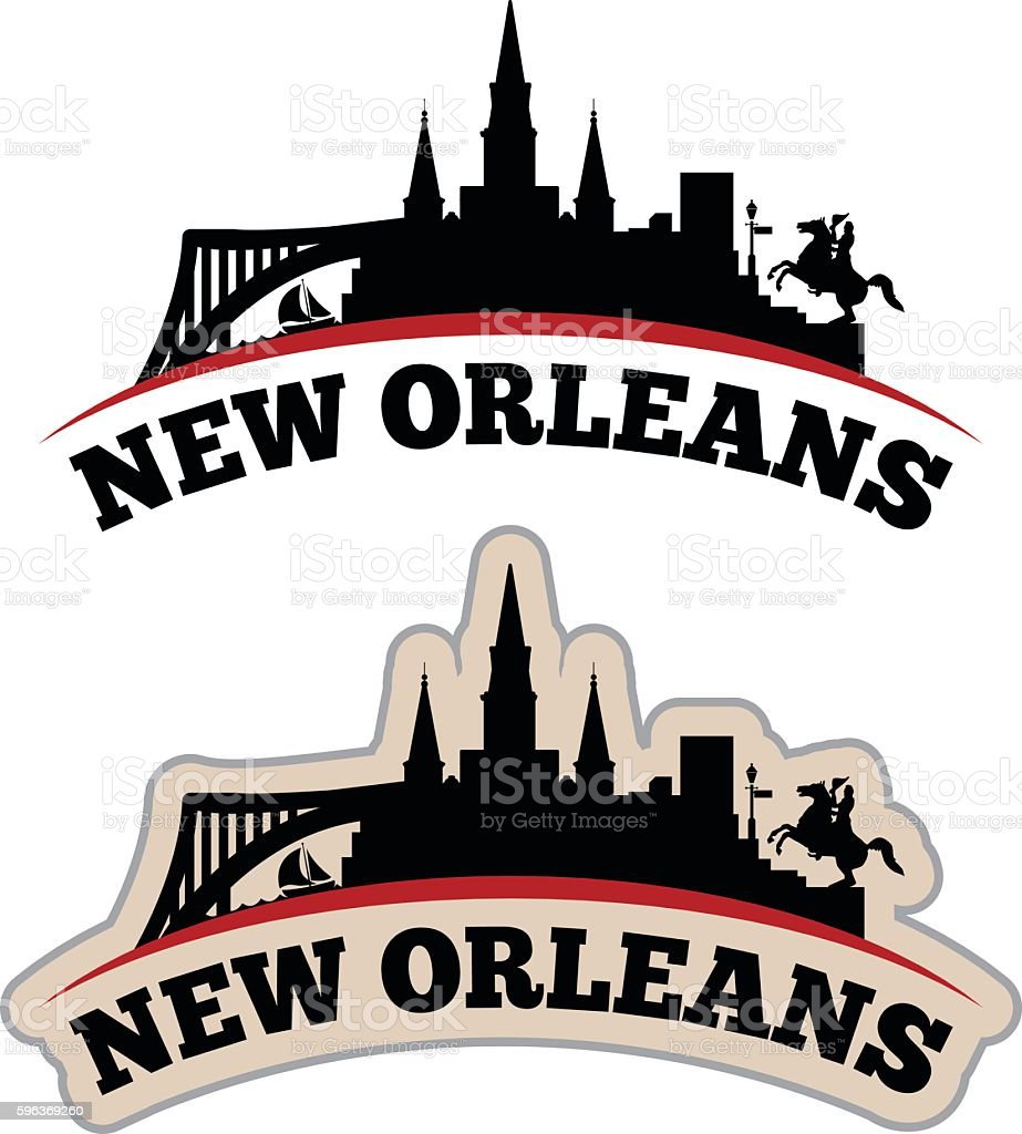 Stylized New Orleans Cityscape Graphic vector art illustration