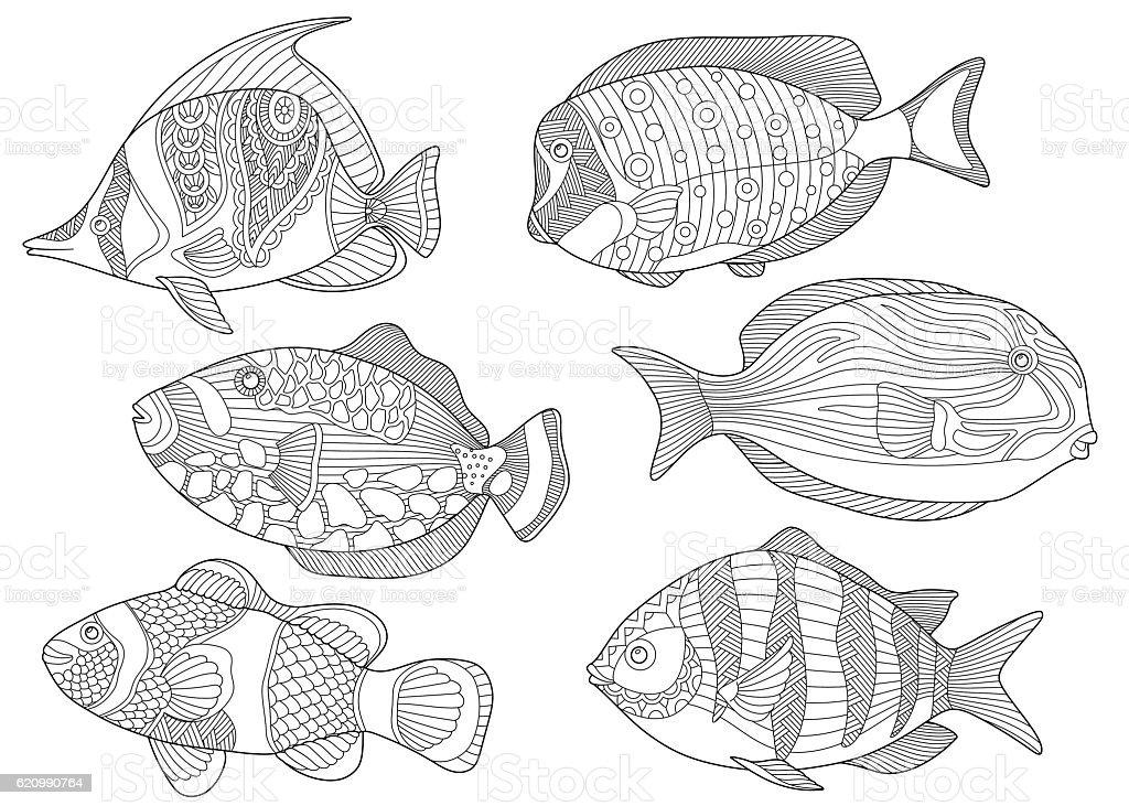 Stylized ocean fishes vector art illustration