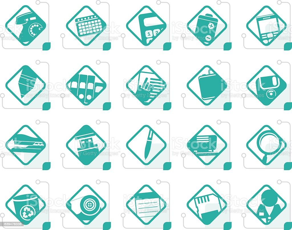 Stylized Office tools icons vector art illustration