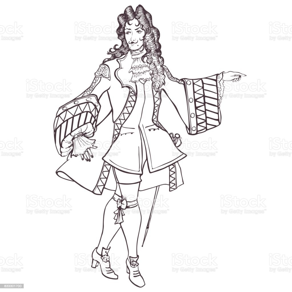 Stylized outline portrait of an aristocrat of the Baroque era vector art illustration